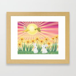 bunnies, daffodils, yellow warblers, & sunshine Framed Art Print