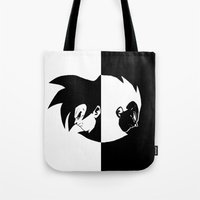 vegeta Tote Bags featuring Goku & Vegeta SS4 Face  by Prince Of Darkness