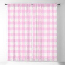 Blush pink white gingham 80s classic picnic pattern Blackout Curtain