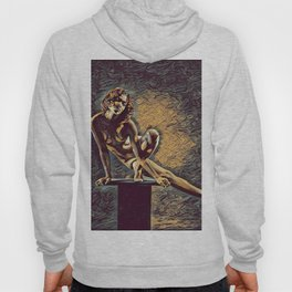 0953s-ZAC Dancer on Pedestal Graceful Young Black Woman Rendered in the Style of Antonio Bravo Hoody