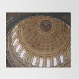 The rotunda of the Capitol building in Madison, Wisconsin Throw Blanket
