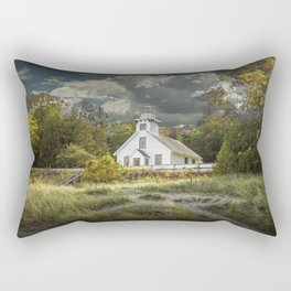 Old Mission Point Lighthouse in Early Autumn Rectangular Pillow
