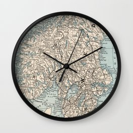 Vintage Map of Norway and Sweden (1893) Wall Clock