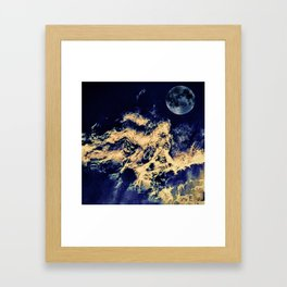 blue moon and clouded night sky Framed Art Print