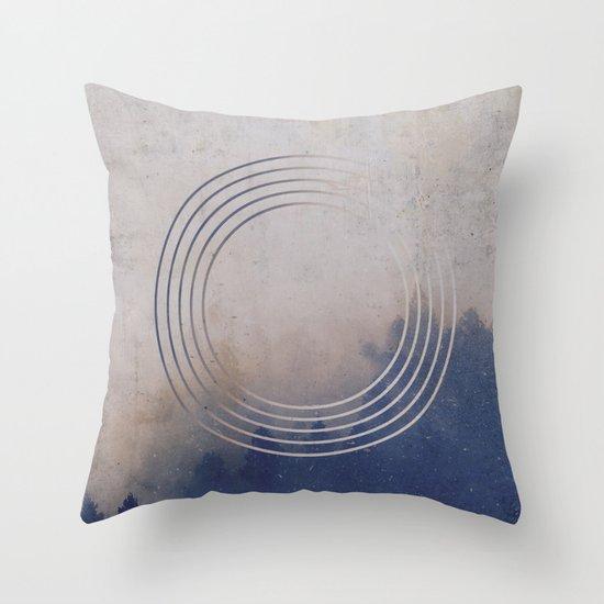 Circles into the Fog Throw Pillow