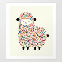 sheep Art Prints featuring Bubble Sheep by Andy Westface