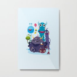 Monster Friends – Illustration for children, Kids art Metal Print