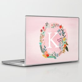 Flower Wreath with Personalized Monogram Initial Letter K on Pink Watercolor Paper Texture Artwork Laptop & iPad Skin