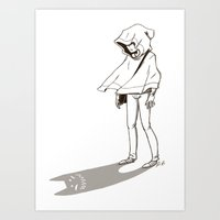 shadow Art Prints featuring Shadow by Pencil Box Illustration