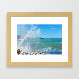 Big wave on the blue sea Framed Art Print