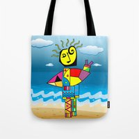 surfer Tote Bags featuring Surfer by Moisés Ferreira