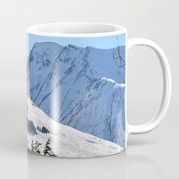 skiing Mugs featuring Back-Country Skiing  - I by Alaskan Momma Bear