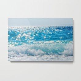 Breaking Wave of Blue Ocean on sandy beach Summer Background Metal Print