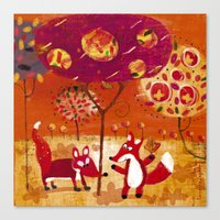 foxes Canvas Prints featuring foxes  by Marianna Jagoda