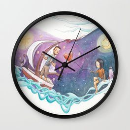 Boy in Sailboat Leaving Girl with Heart Balloon and Penguin Wall Clock