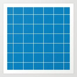 White Grid - Blue BG Art Print