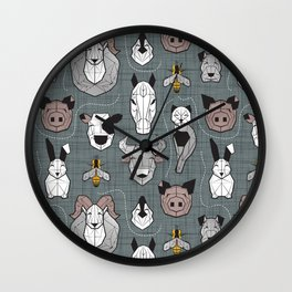 Friendly Geometric Farm Animals // green grey linen texture background black and white brown grey and yellow pigs queen bees lambs cows bulls dogs cats horses chickens and bunnies Wall Clock