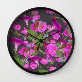 Decorative Pink Morning Glories on Grey Art Design Wall Clock