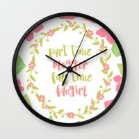 fangirl Wall Clocks featuring FULL TIME FANGIRL by Aentee - Read at Midnight