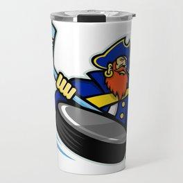 Swashbuckler Ice Hockey Sports Mascot Travel Mug