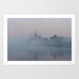 Misty morning, Budapest Art Print