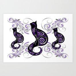 Swirly Cats Art Print