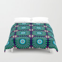 Green and Purple Daises Duvet Cover