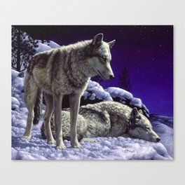Night Watch Wolves in Snow Canvas Print