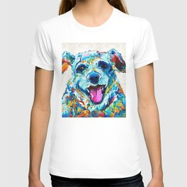 Colorful Dog Art - Smile - By Sharon Cummings T-shirt