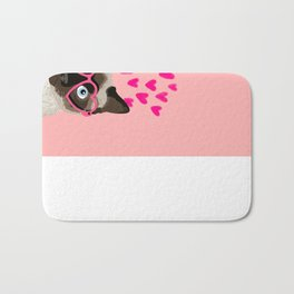 Siamese Cat valentines day gift for cat lady love heart romantic kitten pet friendly present for her Bath Mat