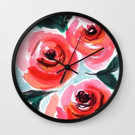 Shabby Chic Farmhouse Style Rose Floral Design Wall Clock