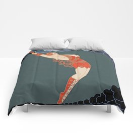 "Art Deco Illustration ""The Dancer"" Comforters"
