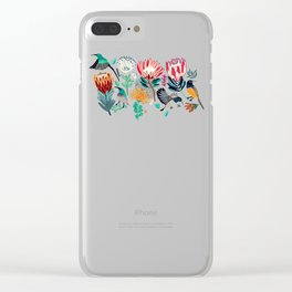 Sunbirds and Proteas On maroon Clear iPhone Case