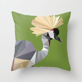Low poly crane Throw Pillow
