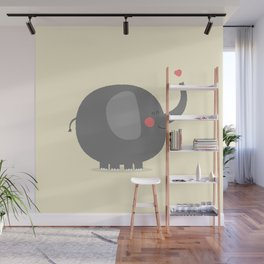Baby Elephant Illustration Wall Mural