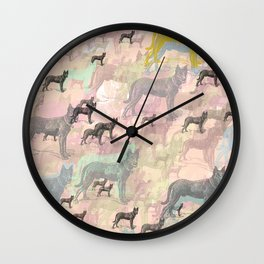 Sky Dogs - Abstract Geometric pink mauve mint grey orange Wall Clock