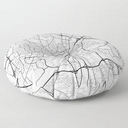 Raleigh Map, USA - Black and White Floor Pillow