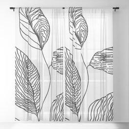 Lines minimalist Zen decor, Scandi Monochrome zen Sheer Curtain
