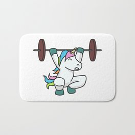 Weightlifting Unicorn fitness gift idea gym weight Bath Mat