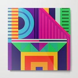 Modern Vibrant Geometric Pattern #7Stripes Triangles Squares and Arcs Metal Print