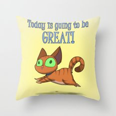 Optimistic Cat Throw Pillow