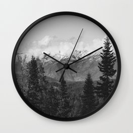 Snow Capped Sierras - Black and White Nature Photography Wall Clock