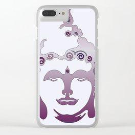 Buddha Head violet - grey Clear iPhone Case