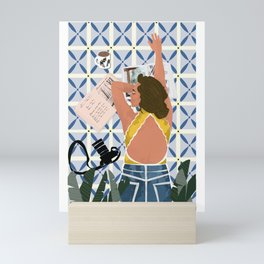 Independent Girl in Relax Mood Mini Art Print