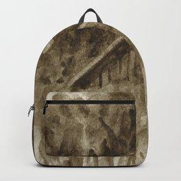 Roof sketch in sepia, watercolor Backpack
