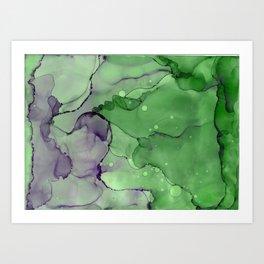 Organic Flow Green Plum Abstract Ink Painting Art Print