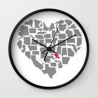 maryland Wall Clocks featuring States of Love...Maryland by Ruby