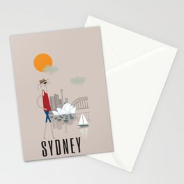 Sydney - In the City - Retro Travel Poster Design Stationery Cards