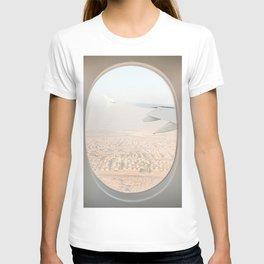 Pastel Plane Window View Photo | Summer Holiday Dubai Air Art Print | Adventure Travel Photography T-shirt