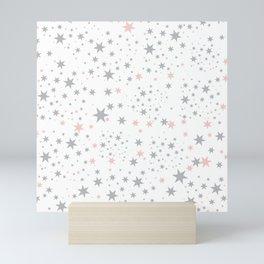 Stars silver and blush Mini Art Print